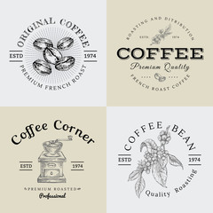 Set of Vector Vintage Coffee Logo and Illustration Drawing Engraving Icon 02