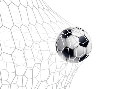 BALLON DE FOOTBALL DANS LE FILET fond blanc