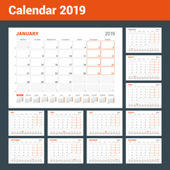 Calendar planner for 2019 year. Set of 12 pages. Vector design print template. Week sarts on Monday