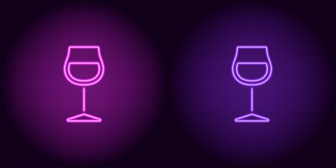 Purple and violet neon wineglass