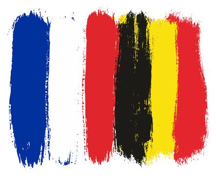 France Flag & Belgium Flag Vector Hand Painted with Rounded Brush