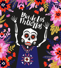 Skeleton in the floral frame. Vector holiday illustration for Day of the dead or Halloween. Funny card design.