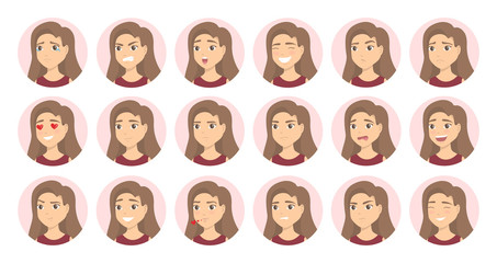 Woman emotions set.