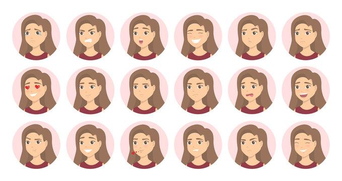 Woman emotions set.