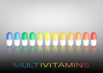 Multivitamin label inspiration, icon concept vitamins , vector isolated or grey background