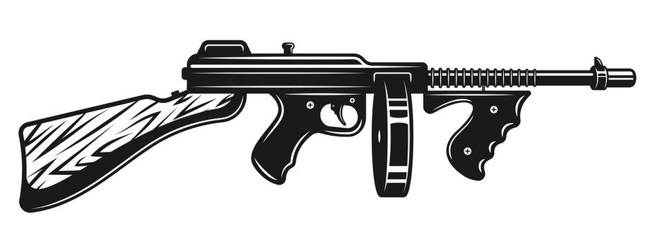 Gangster submachine gun monochrome illustration
