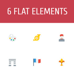 Set of country icons flat style symbols with france, mime, triumphal arch and other icons for your web mobile app logo design.