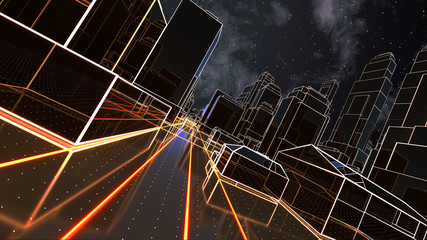Abstract 3D city with luminous lines