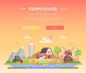 Farm house - modern flat design style vector illustration