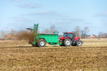 Tractor with manure spreader on the field - 1358