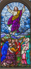 LONDON, GREAT BRITAIN - SEPTEMBER 15, 2017: The Ascension of the Lord on the satined glass of St James's Church, Clerkenwell Alexander Gibbs & Co (1863).