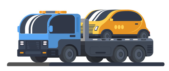 The machine for transportation of faulty vehicles. Lorry wrecker with car on platform. Road service and help.