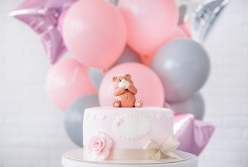 festive pink cake bow bear top background balloons