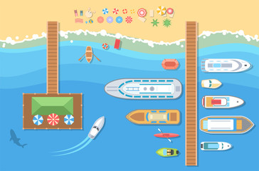 Beach top view - modern vector colorful illustration
