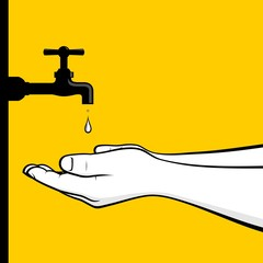 Man hands sparing water