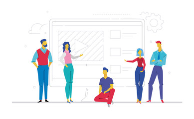 Business team presenting a website - flat design style colorful illustration