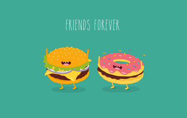 This is a vector illustration. The donut with hamburger are friends forever. You can use for cards, fridge magnets, stickers, posters.