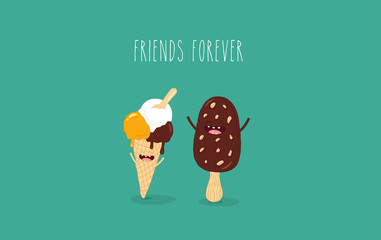 This is a vector illustration. The ice cream cone with chocolate ice cream are friends forever. You can use for cards, fridge magnets, stickers, posters.