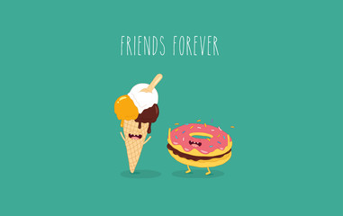 This is a vector illustration. The donut with ice cream cone are friends forever. You can use for cards, fridge magnets, stickers, posters.