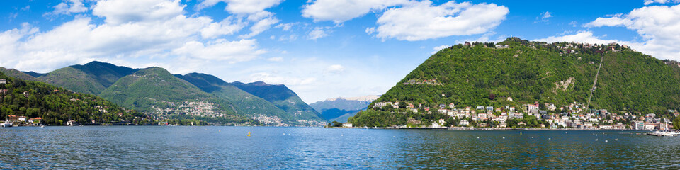 Panoramic view of Como city and lake near Milan in Italy