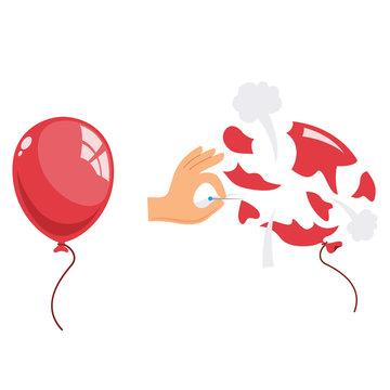 Vector Illustration Of Popped Balloon