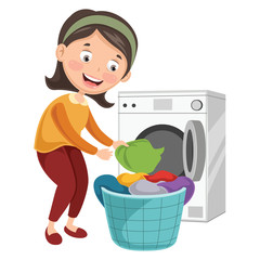 Vector Illustration Of Woman Washing Clothes