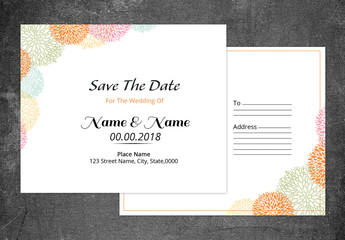 Save-the-Date Card Layout with Line Art Flowers 1