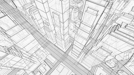 Sketch of modern city, aerial view