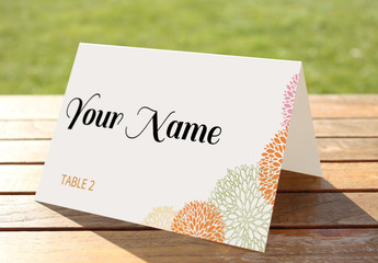 Place Card Layout with Line Art Flowers 1