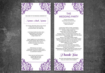 Wedding Program Layout with Purple Filigree Corners 1