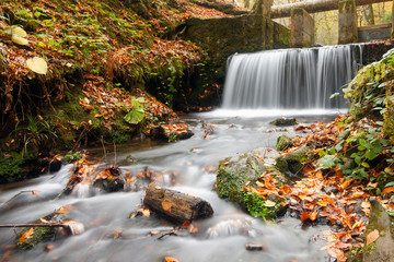 Printed roller blinds Waterfalls Small waterfall in autumn