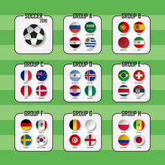 Soccer cup 2018 . Set of national flags team group A - H . Circle design . Vector for international world championship tournament