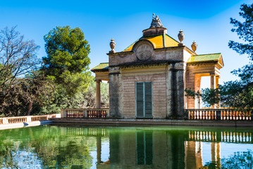 Neoclassical pavilion in Labyrinth Park of Horta, Barcelona