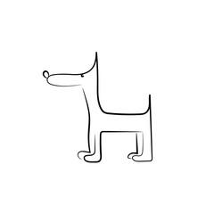 Funny black dog silhouette for your design. Vector illustration.