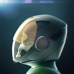 Dead skull astronaut in spacesuit and helmet. On dark background with stars and flares 3d render