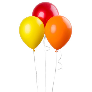 Group of balloons red, yellow orange isolated on a white background. Party decoration for celebrations and birthday