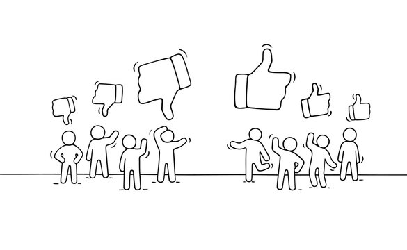 little people with like and dislike signs.