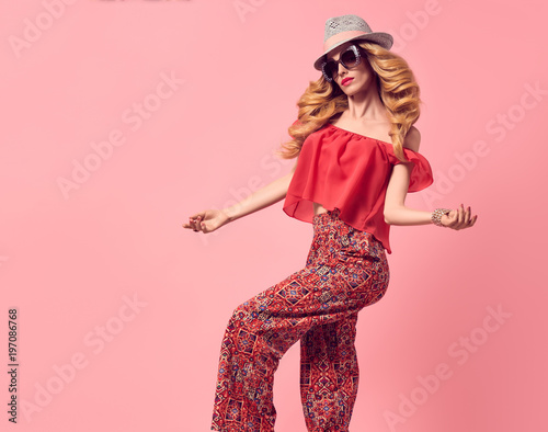 62d285642cdc Fashion Young Woman in Summer Stylish Outfit. Wavy Hair