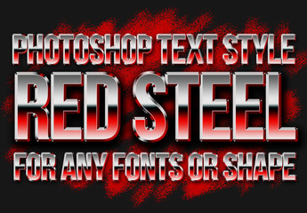 Red Steel Metallic Text Style