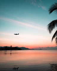 Sunset on tropical beach and coconut palm tree with silhouette airplane flying over the sea in thailand