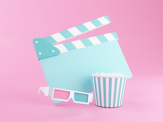 3d Popcorn, clapperboard and 3d glasses.