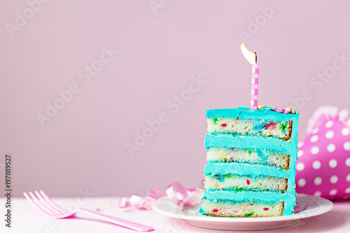 Colorful Birthday Cake Slice With Candle