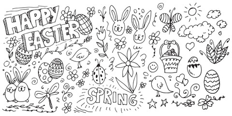 Happy Easter hand drawn doodles