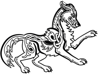 Vector illustration celtic knot wolf Fenrir black and white