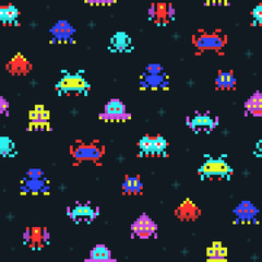 Cute pixel robots, space invaders retro video computer game seamless vector pattern