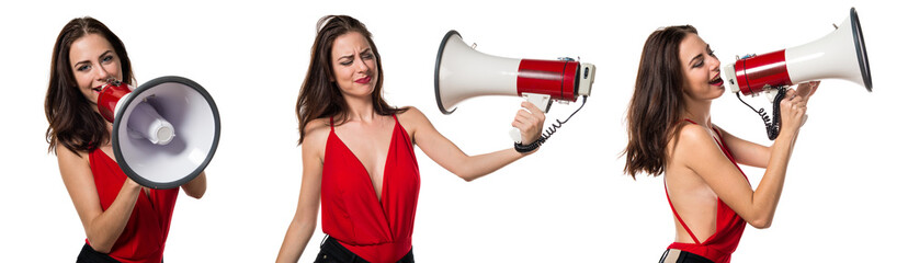 Pretty young girl shouting by megaphone