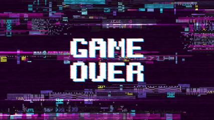 Game over fantastic computer background with glitch noise retro effect vector screen Fototapete