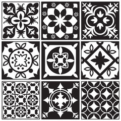 Vintage monochrome repeating tiles. Moroccan mediterranean tiled floor vector patterns