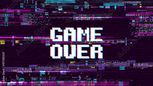"""""""Game Over Fantastic Computer Background With Glitch Noise"""