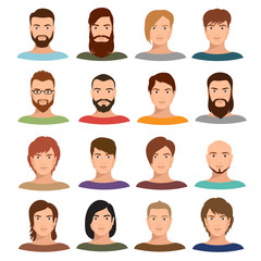 Adult male portraits vector collection. Internet profile mans cartoon faces